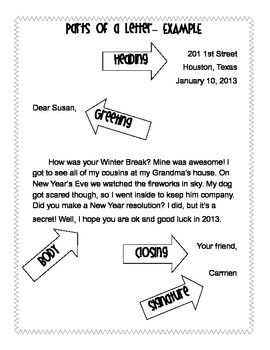 Friendly Letter Template Vocabulary Worksheets  Friendly Letter