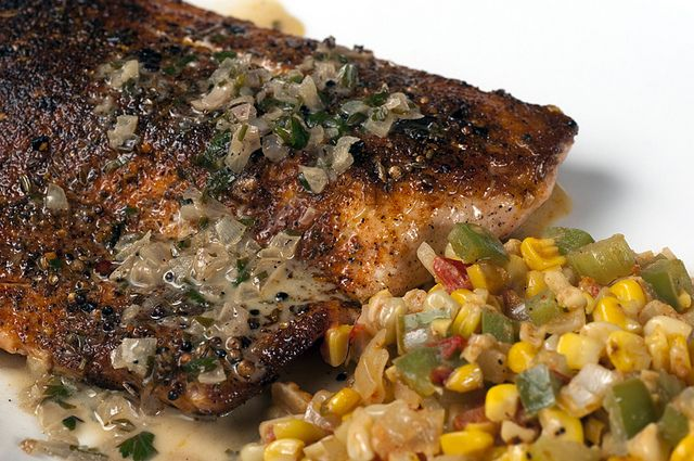 mouthwatering   >>  Blackened Salmon with a Light Lemongrass Beer Butter Sauce via He Cooks, She Cooks