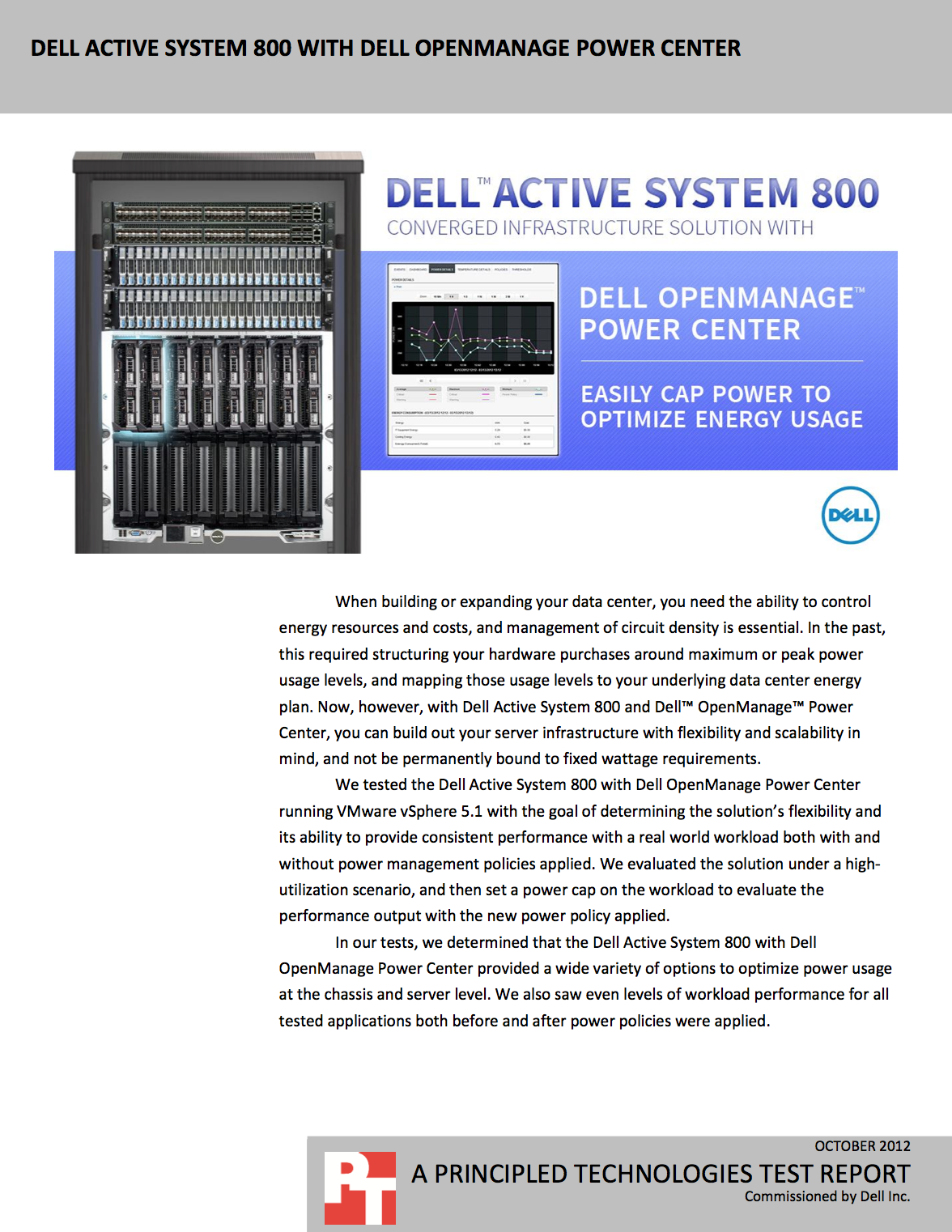 Dell Active System 800 With Dell Openmanage Power Center Http Facts Pt 14m5eup Energy Usage Energy Resources Optimization
