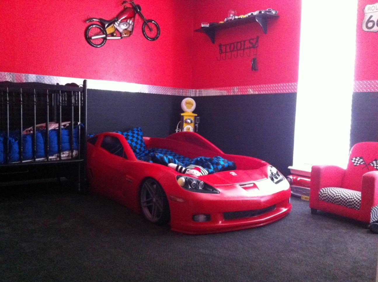 Boys car bedroom ideas - Levis Room Corvette Bedding Set Just Bought The Kid A New Corvette Car Bedroombedroom Kidstoddler