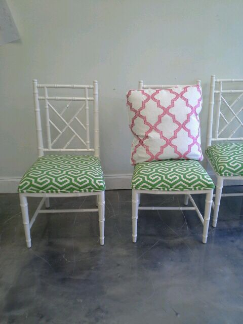 Faux Bamboo Chippendale Style Dining Chairs By Parker Kennedy Living Green  Geometric Schumacher Fabric