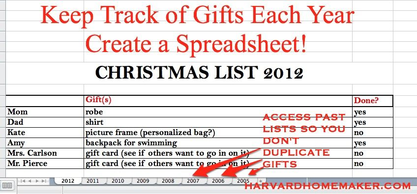 Why You Should Create a Gift Spreadsheet to Make Life Easier - how to create a spreadsheet