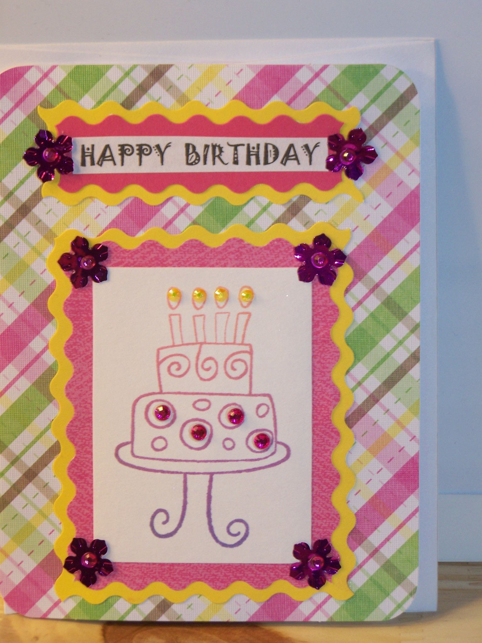 Birthday Card Plaid W Cake Handmade Birthday Cards Birthday