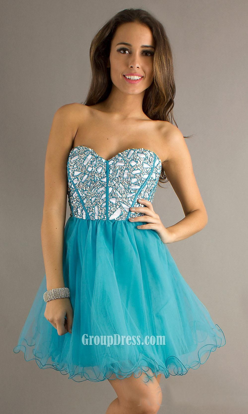 blue sequin corset bodice #sweetheart #strapless #short a-line prom ...