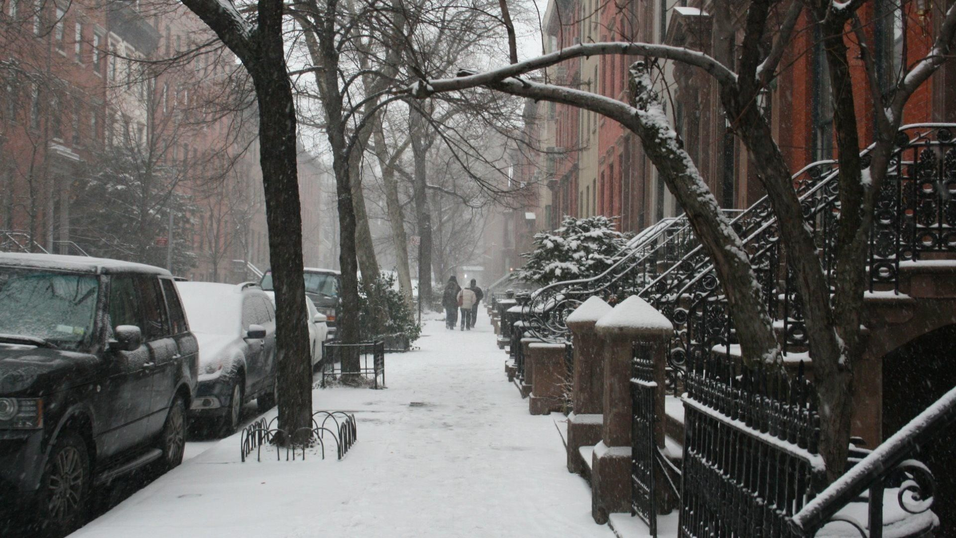 New York Winter Wallpaper Snow On A New Y...