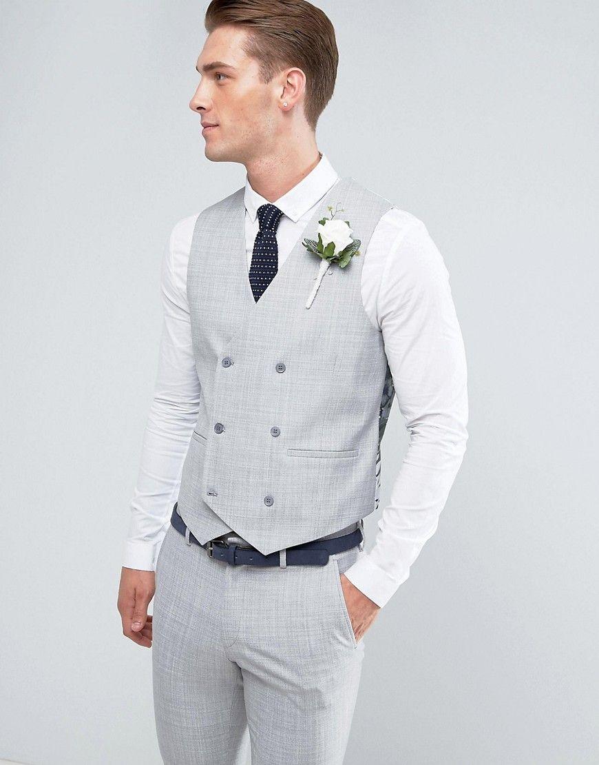 Asos wedding skinny suit vest in crosshatch nep light gray