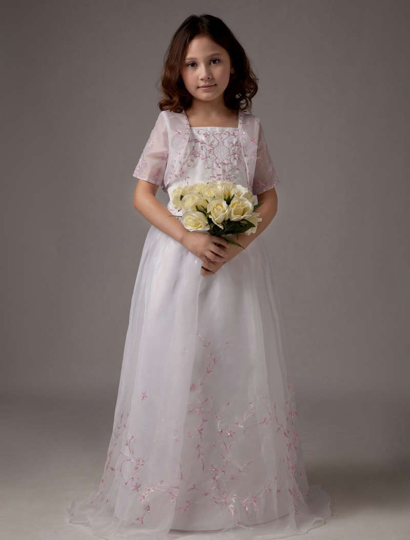 Handmade embroidery long flower girl dress with jacket flower
