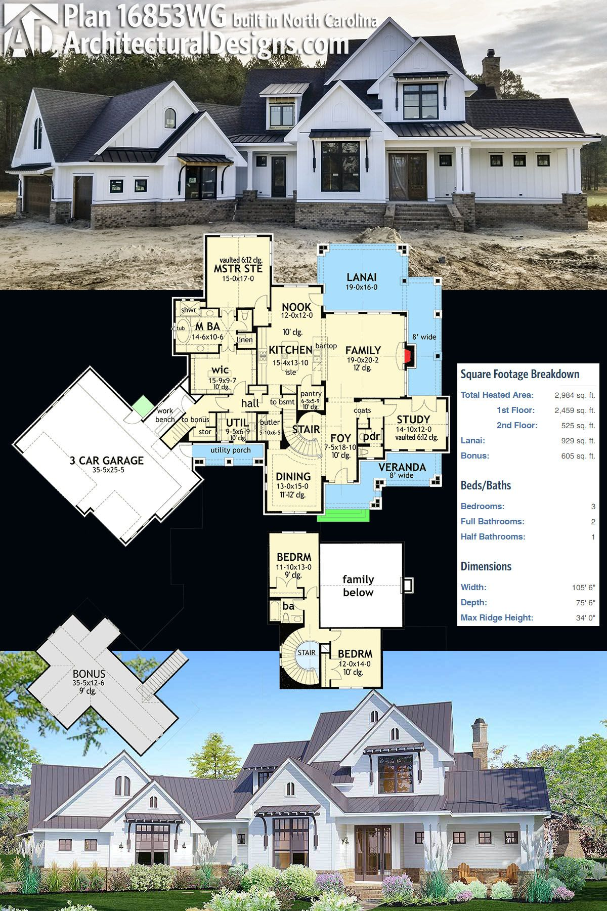 Plan 16853wg Elegant 3 Bed Farmhouse With Great Outdoor Living Spaces Modern Farmhouse Plans Farmhouse Plans Dream House Plans