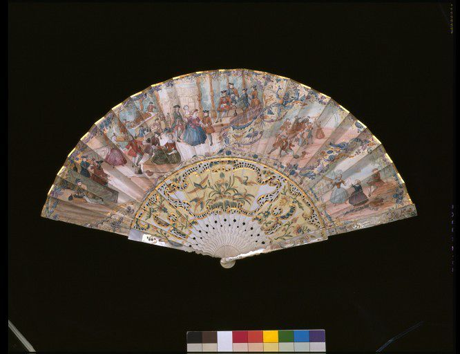 1740-1750, the Netherlands or Germany - Fan - Gouache on paper, with carved and painted ivory sticks, and mother-of-pearl guards