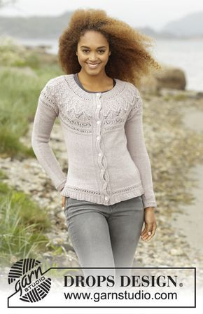 Crystal Bright Cardigan With Round Yoke And Textured Patterns By