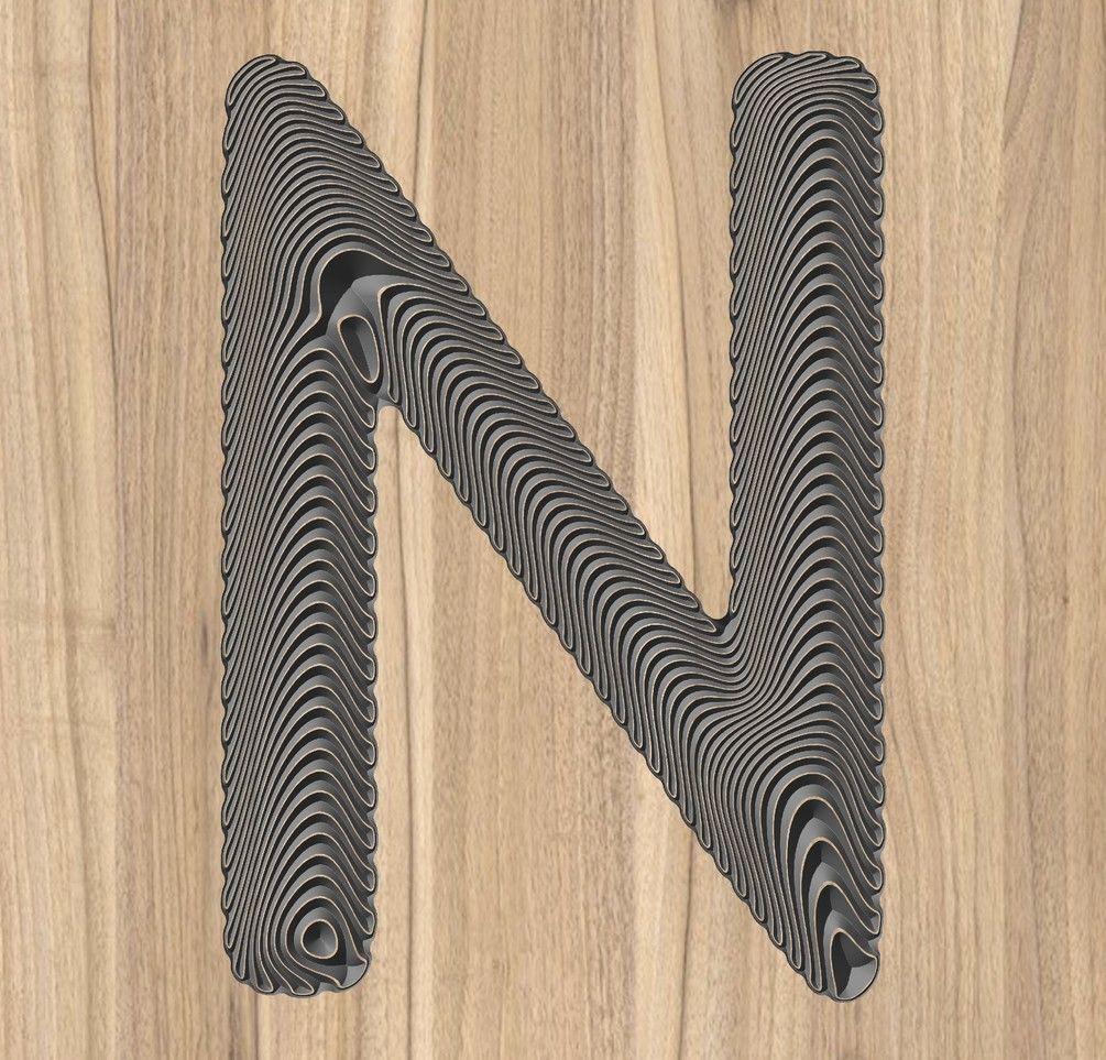 Nletter vector 3d floating wave effect Letter vector