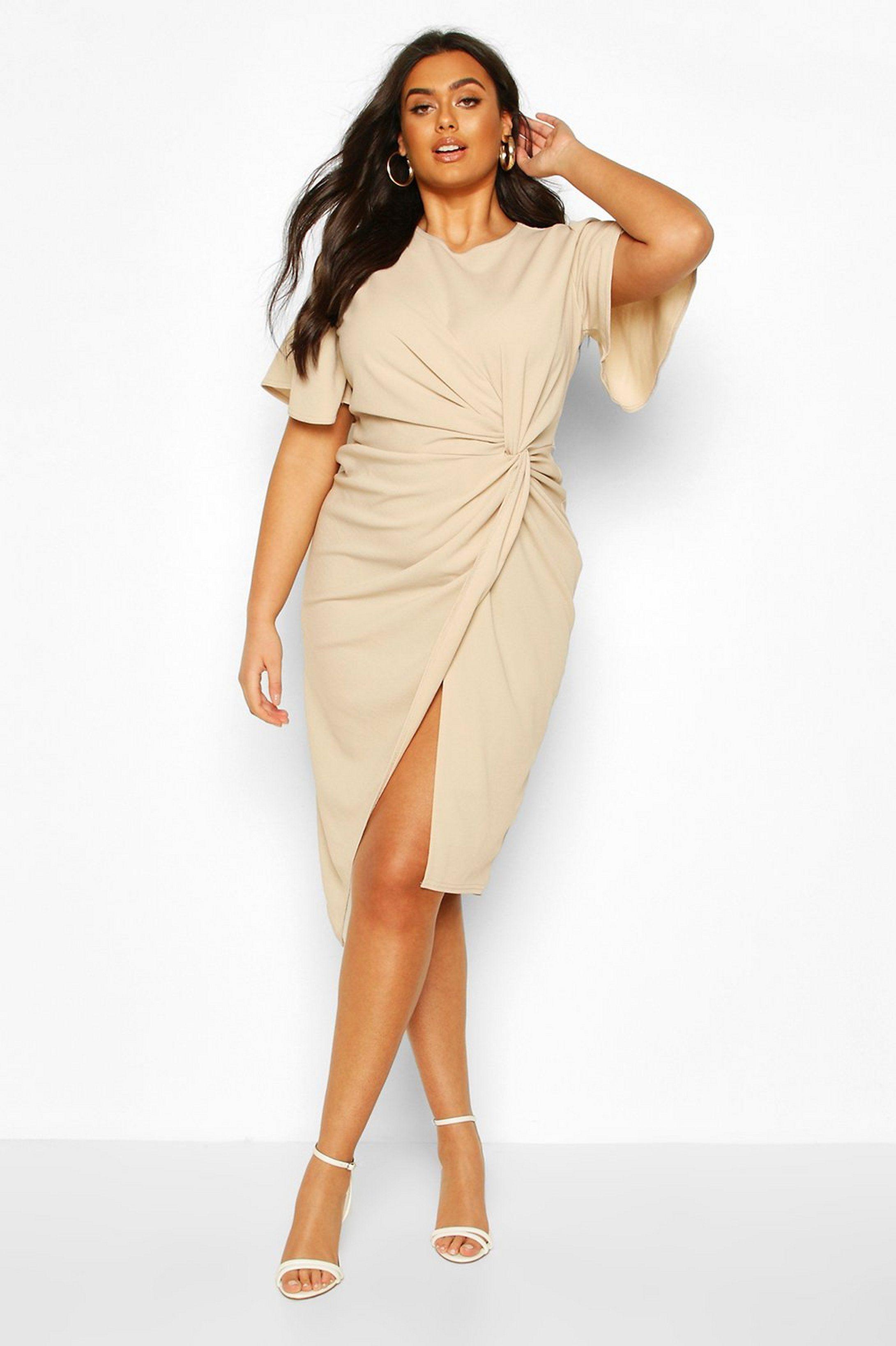 Plus Angel Sleeve Twist Detail Midi Dress Boohoo In 2020 Dresses Midi Dress Bodycon Fashion