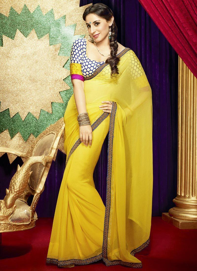 61d696db8bfa1d Fabulous Yellow Chiffon Saree : Cbazaar | Indian couture! | Saree ...