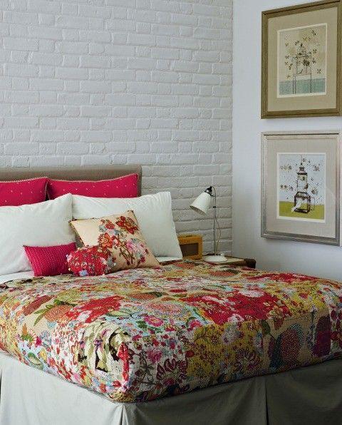 great quilt + Brick walls.