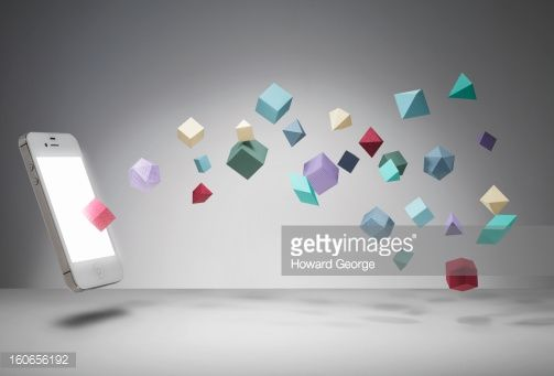 Stock Photo : Iphone with geometric shapes