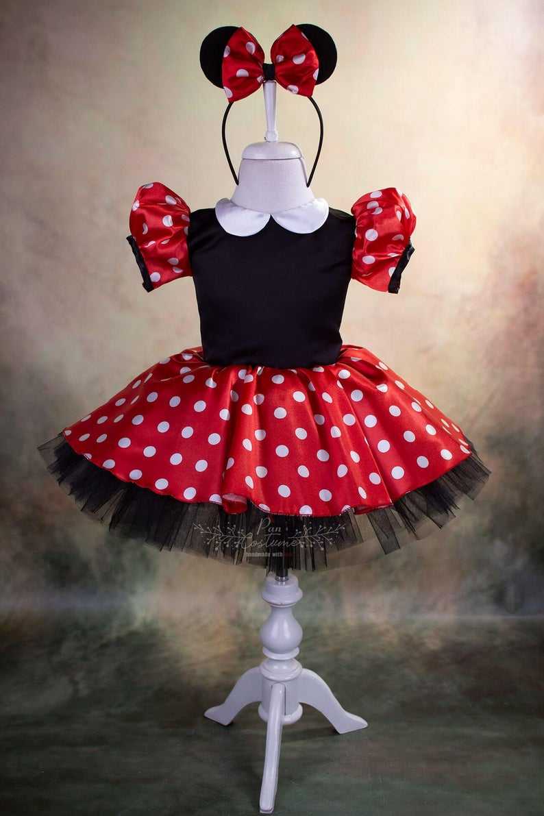 Pageant,Costume Red and Black Minnie Mouse tutu outfit,Birthday tutu