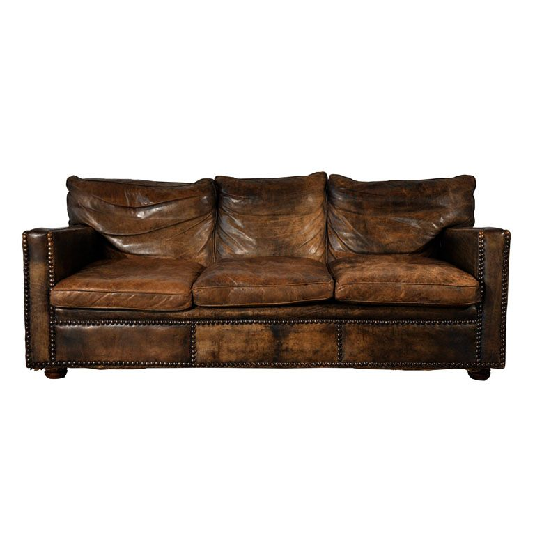 Worn Leather Sofa Clean Lines Broken In Relaxed Look Nail Head Trim Gives It More Character