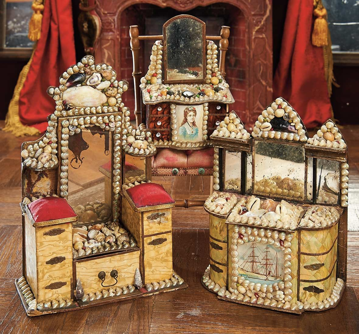 In the Company of the Gentleman Bespoken: 276 French 19th-Century Seashell-Art Candy Containers
