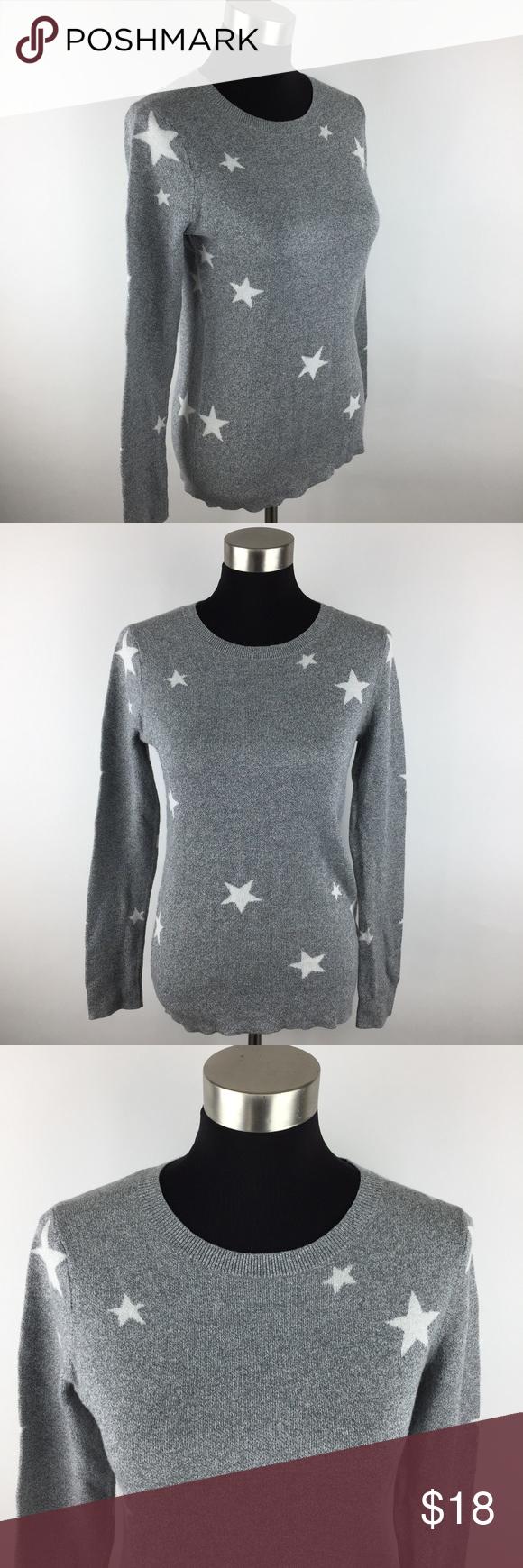Banana Republic Grey Thin Knit Stars Sweater Small | Banana ...