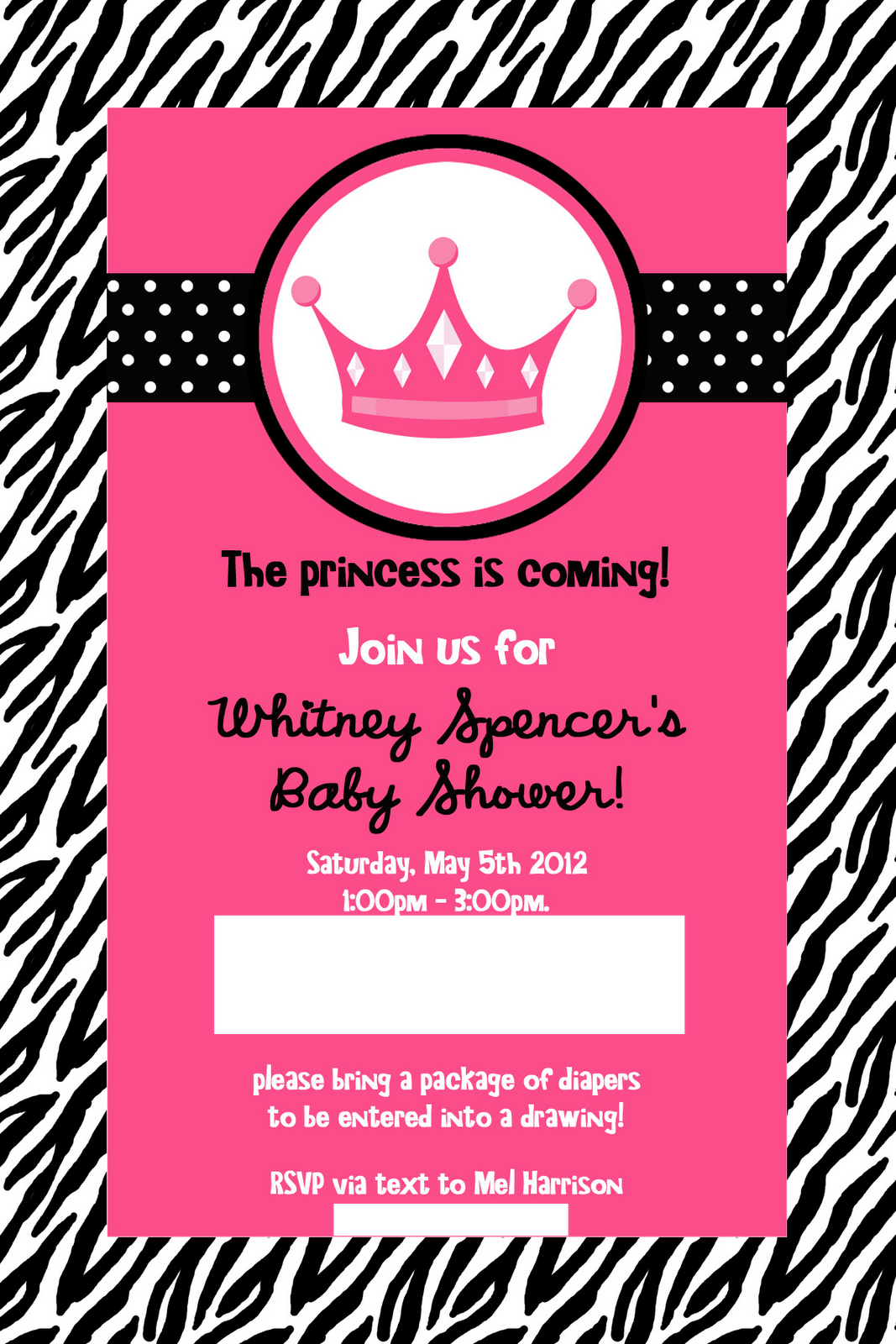 my heart is a house: whitney\'s baby shower: pink zebra princess ...