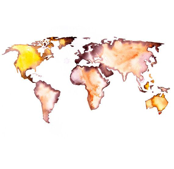 Original Watercolor Painting world map 13x19 abstract modern cool wall art home decor contemporary illustration