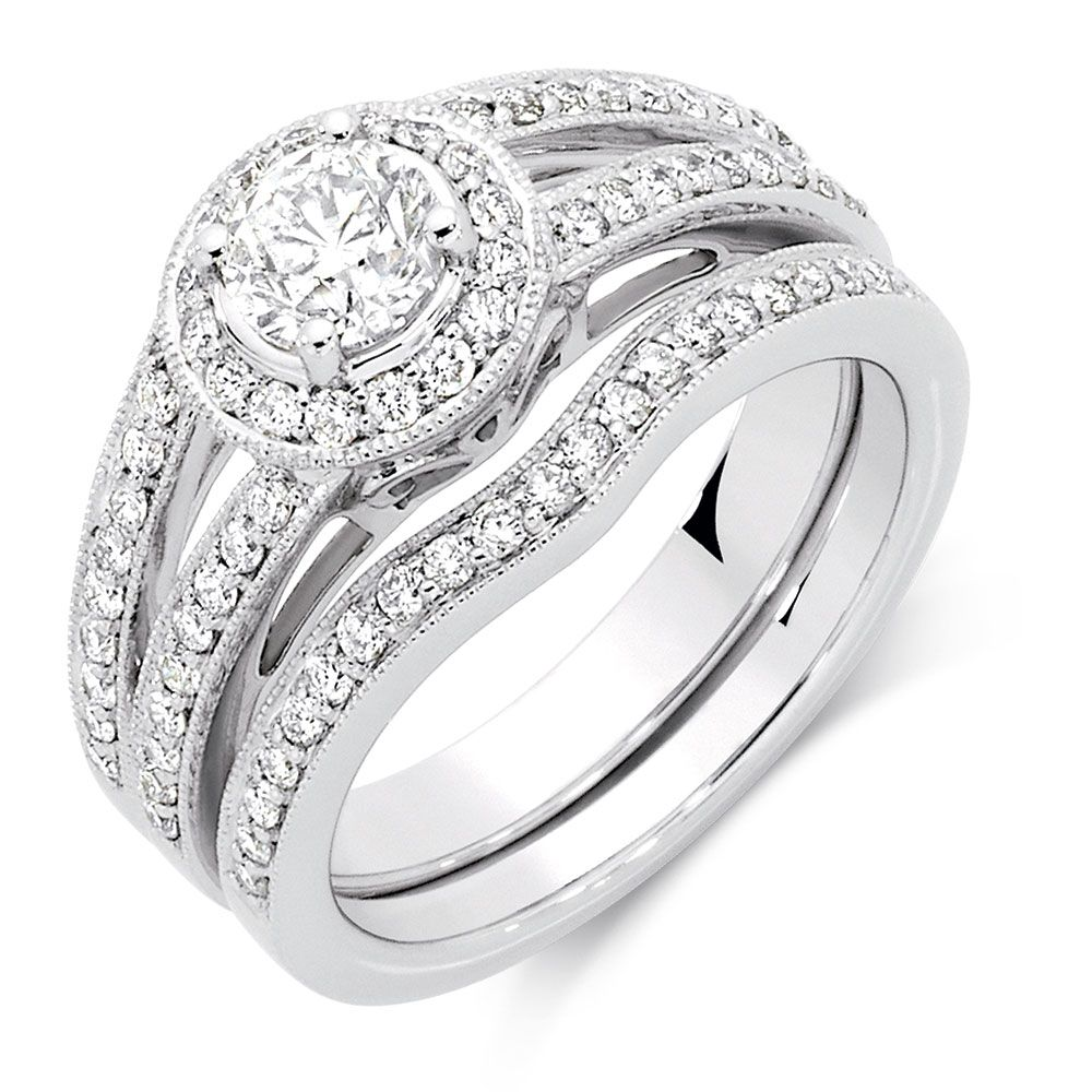 Bridal Set with 1 14 Carat TW of Diamonds in 18kt White Gold My