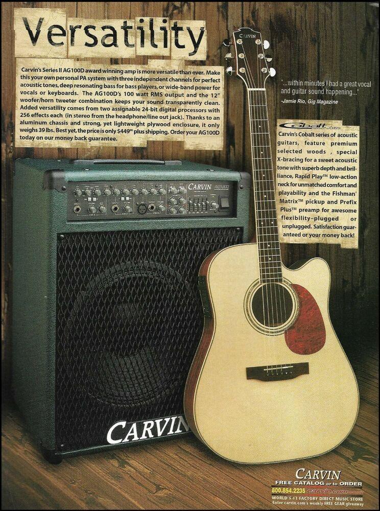 Carvin Cobalt Acoustic Electric Guitar Ag100d Amp Ad 8 X 11 Advertisement Print Carvin Acoustic Electric Acoustic Guitar Amp Acoustic Electric Guitar