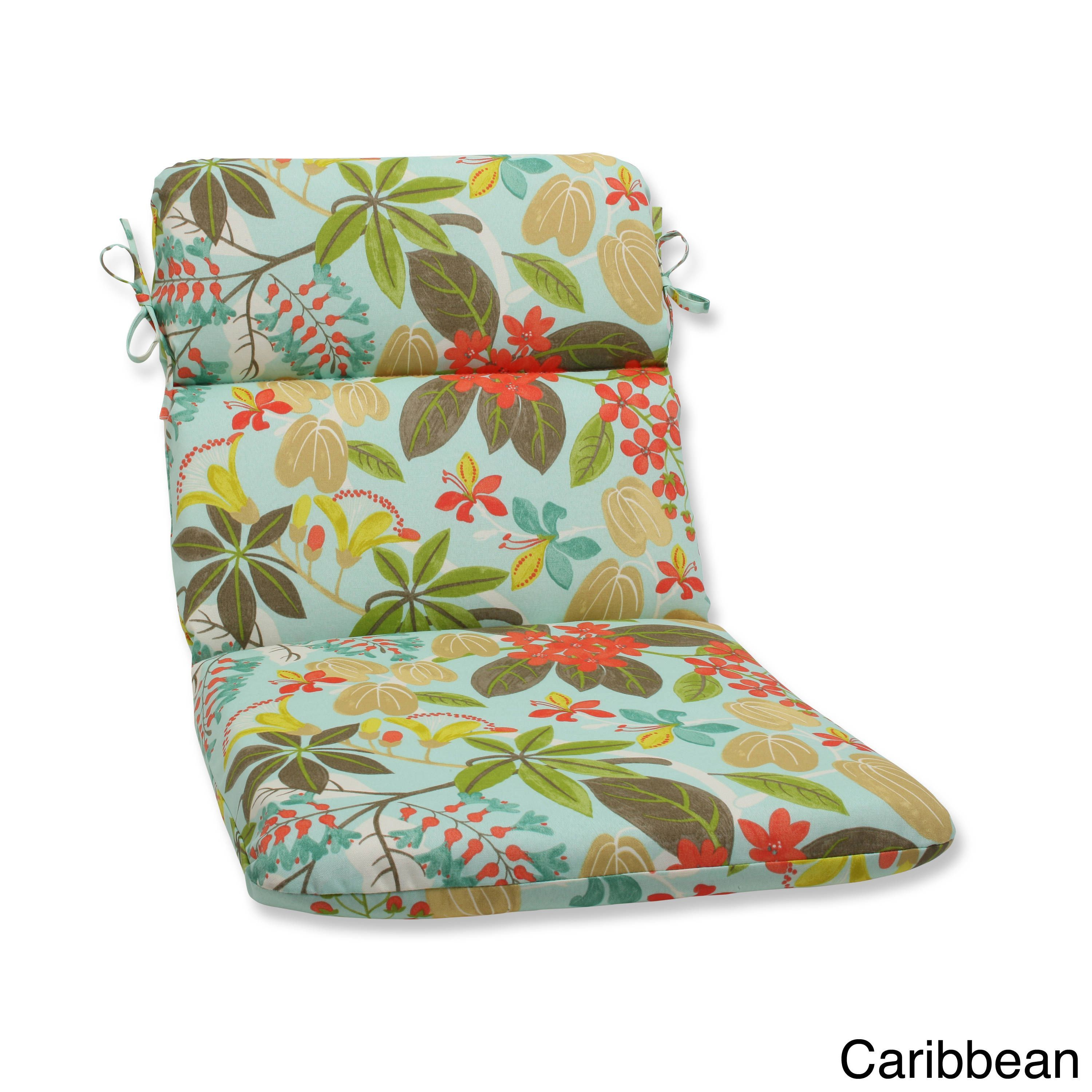 Pillow perfect outdoor fancy a floral rounded corners chair cushion