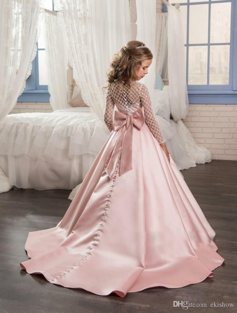 2d21679c437d8 Pink Princess Long Sleeves Flower Girls Dresses 2017 Bow Knot Delicate  Beaded Sequins Ball Gown Floor Length Girls Pageant Birthday Gowns