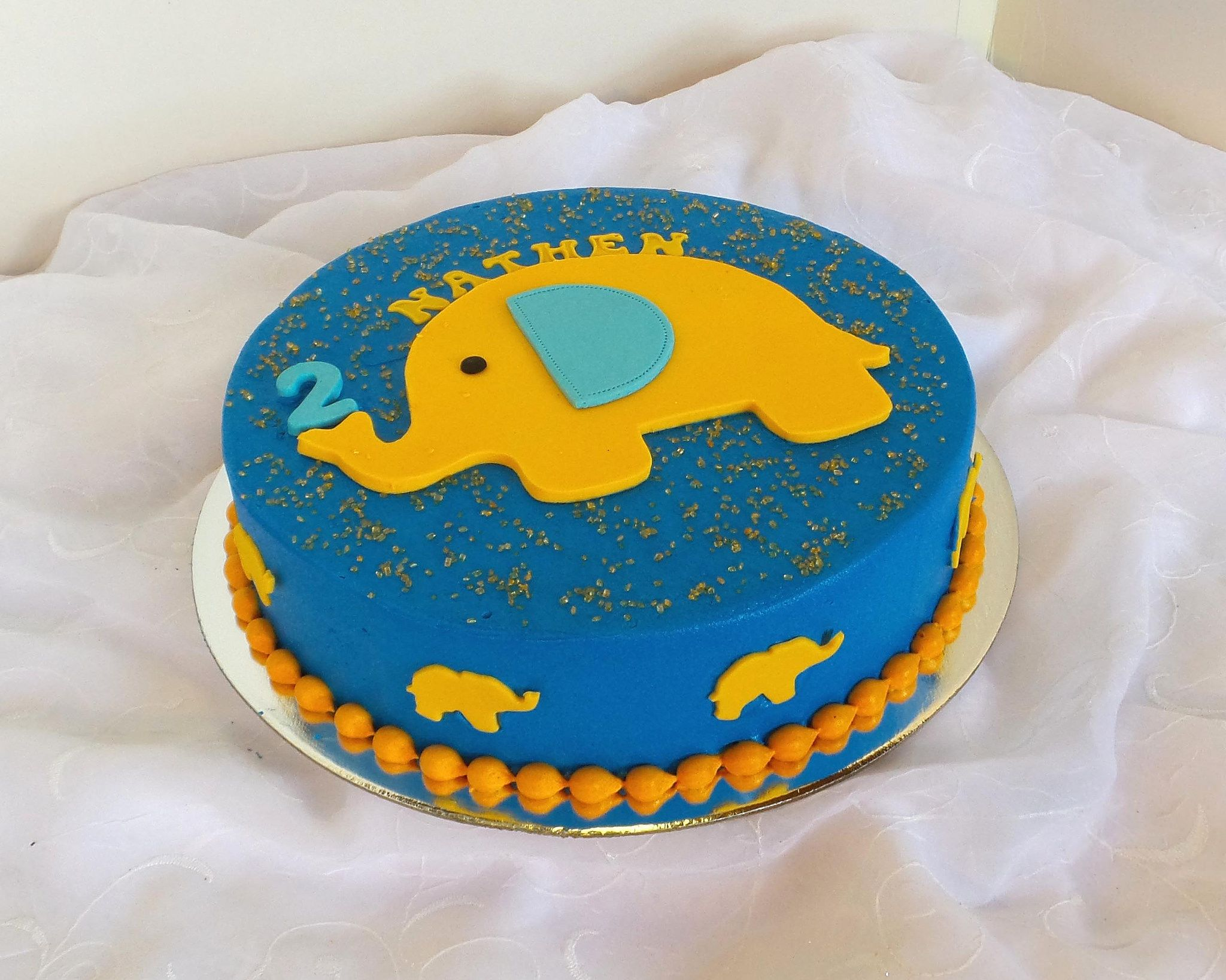 Simple Elephant Themed 2 Year Old Birthday Cake With Images 2