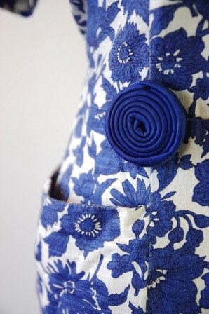 Vintage Blue and White Floral 1950s Wiggle by RetroKittenVintage, $55.00