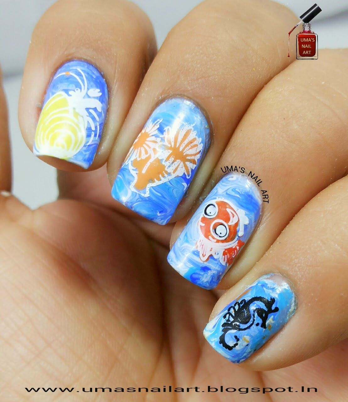 Uma's Nail Art: Day-12: Film..Finding Nemo www.umasnailart.blogspot.in