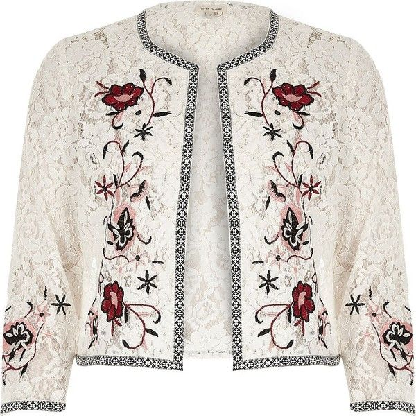 River Island White floral embroidered lace bolero jacket (5,890 INR) ❤ liked on Polyvore featuring outerwear, jackets, coats / jackets, white, women, lace bolero, river island, white jacket, 3/4 sleeve jacket and white lace bolero