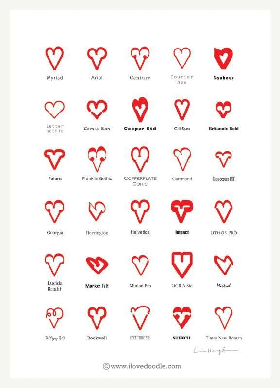 Aspettando #SanValentino... Ecco come dire #TiAmo in tutti i #font del mondo! ♥ ♥ ♥  #grafitudini via ilovedoodle.com