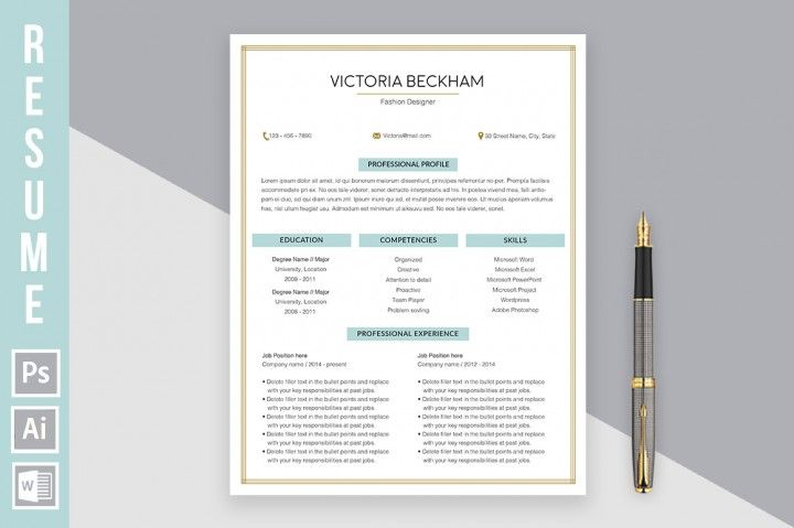 Resume Template u0027Victoria Beckhamu0027 By Bueno Flores Design - librarian cv