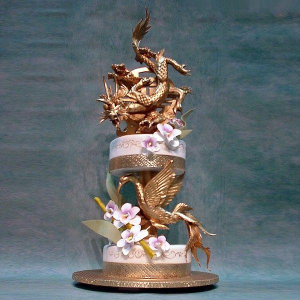 2T Golden Dragon And Phoenix   Yeners Designs   Wedding Cakes