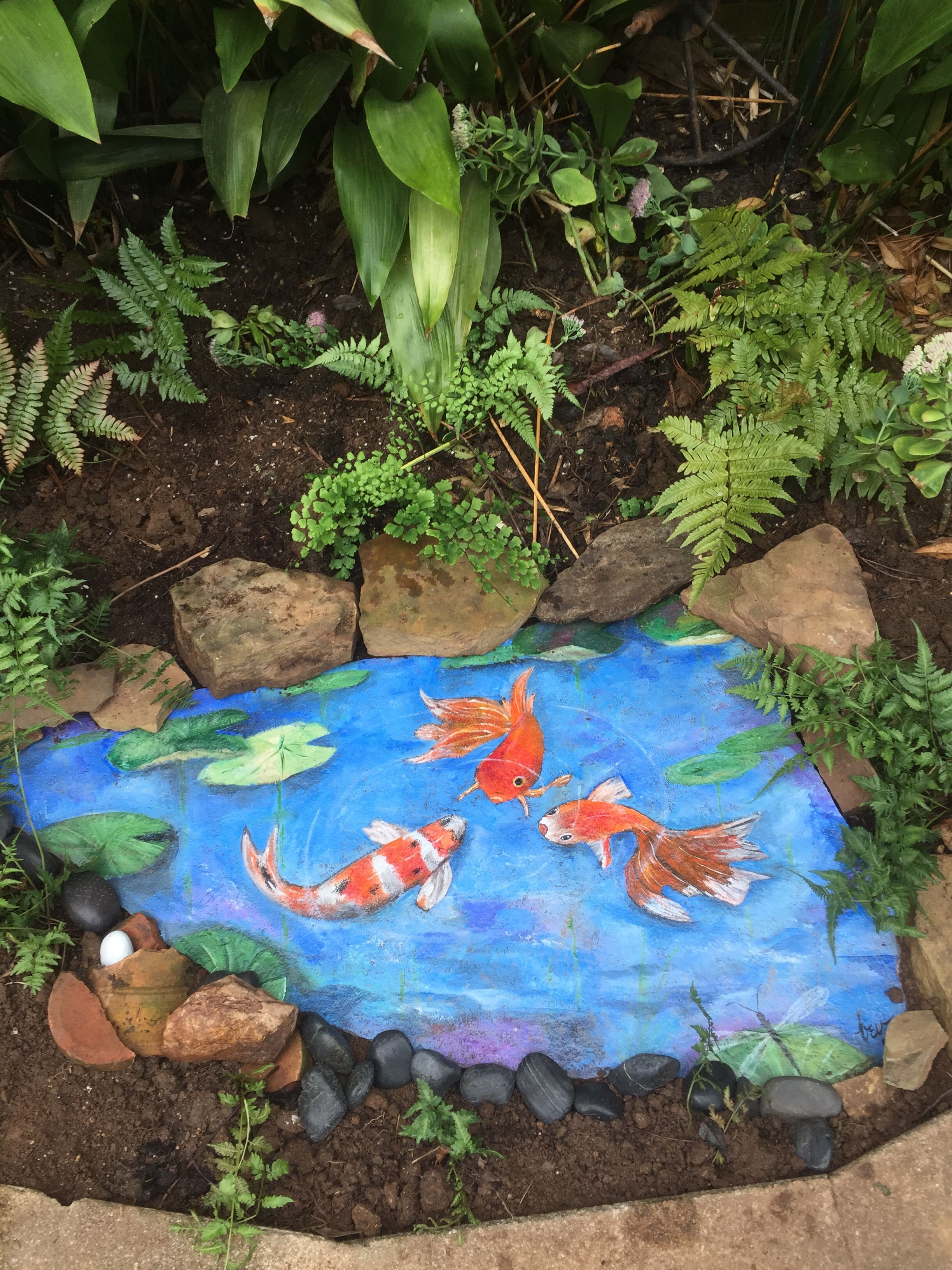 This is my fake fish pool that i painted on a large piece for Artificial fish pond