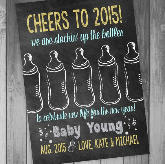 new years pregnancy announcement baby announcement by claceydesign