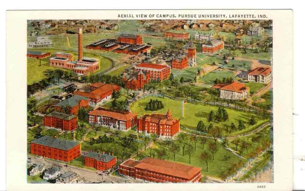 Undated Unused Postcard Aerial View Campus Purdue University
