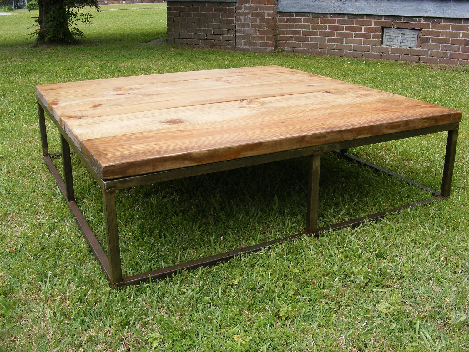 Coffee Table With Metal Frame And Old Pine Finish Top 495 00