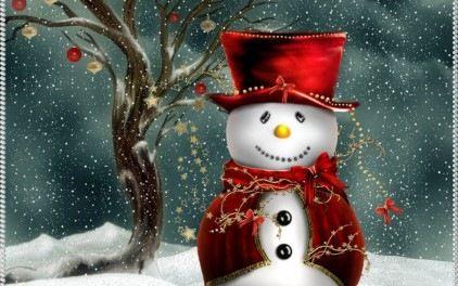 Free Adorable Christmas Snowman wallpaper