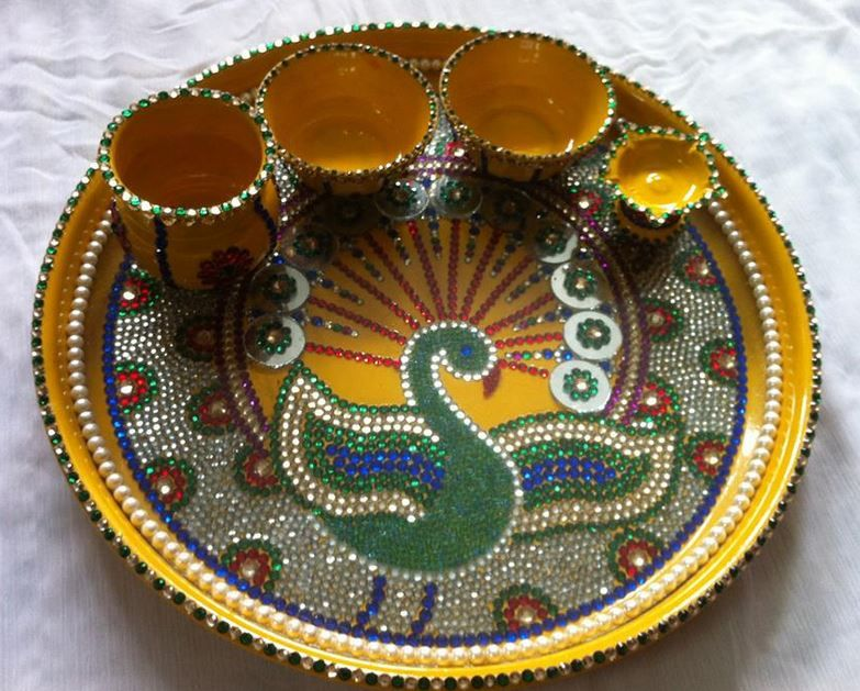 Aarti thali decoration ideas for janmashtami also rh in pinterest