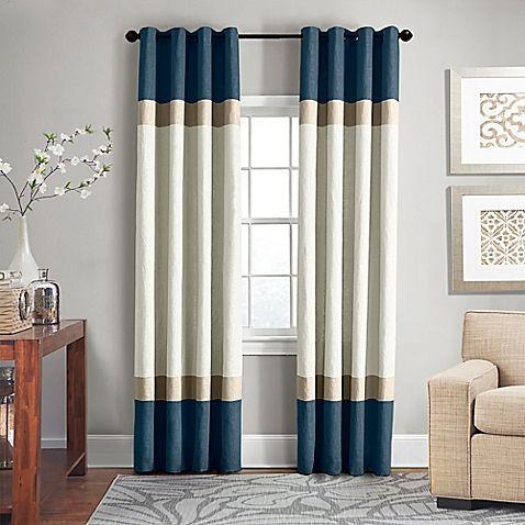 Sage Green Print Burlap Linen Modern Curtain Panels