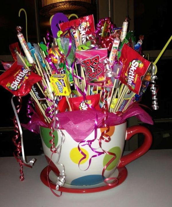 Taza con dulces pocllo pinterest dulces febrero - Adornos con golosinas ...