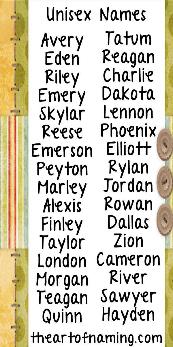 Cute unisex names for girls