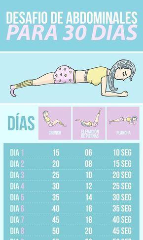 Desafío de abdominales para 30 días: crunch, elevaciones y plancha