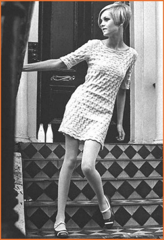Twiggy in Mary Quant - Heavy dark eye makeup, false lashes, and a five point bob haircut are the perfect finishing touches for a Quant look.