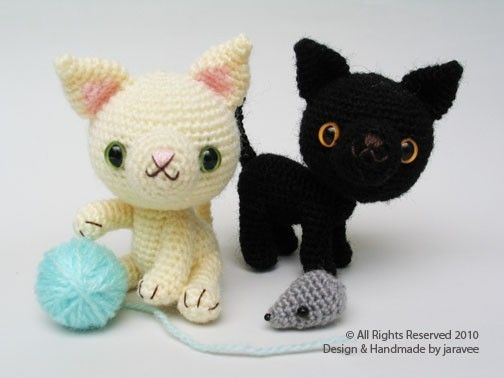 Amigurumi Kitten Patterns : Black and white kittens pdf crochet pattern by jaravee on etsy