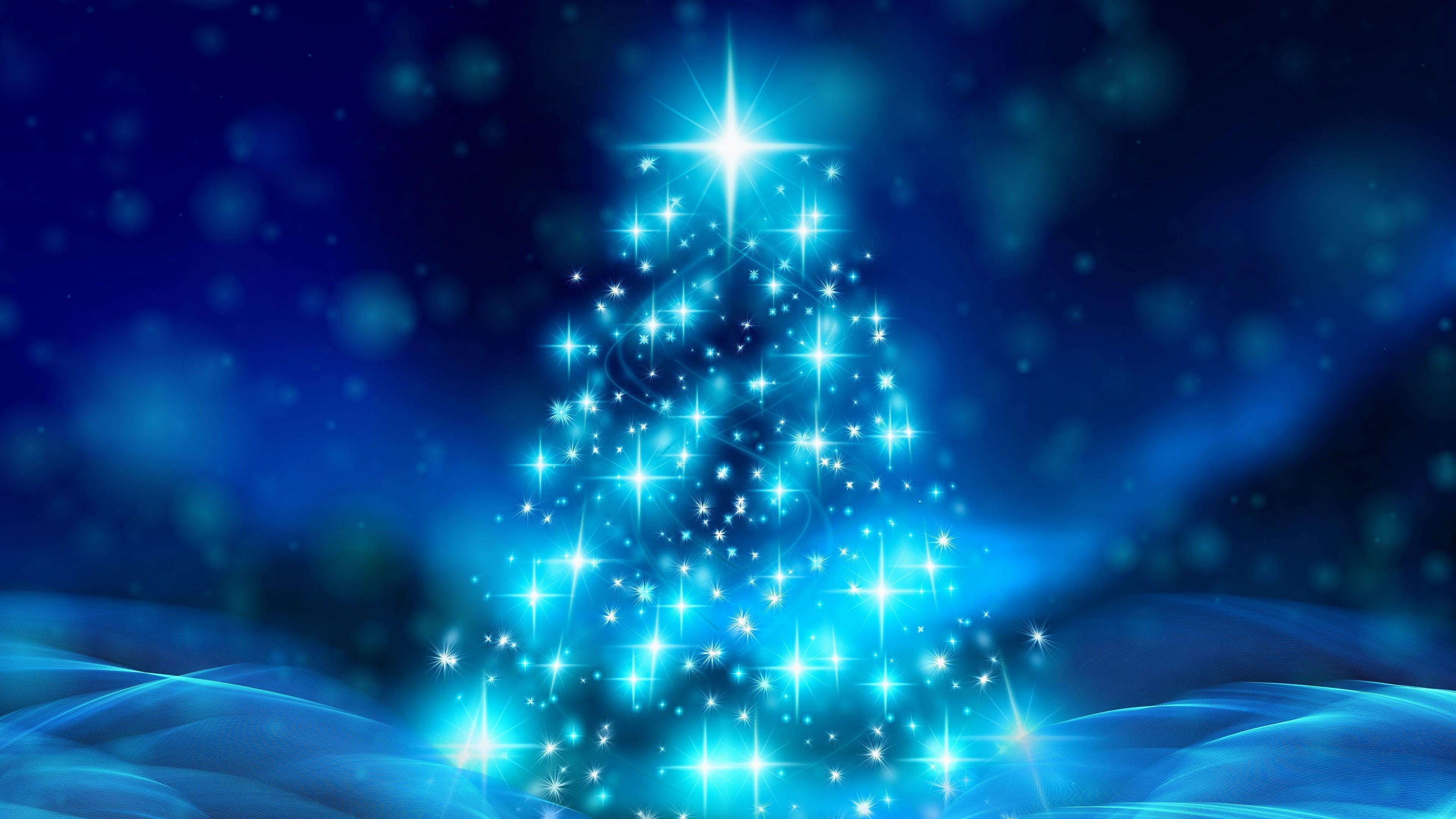 Blue Christmas Christmas Tree Stars Glow Shine Shining Glowing Starry Xmas 4k Wallpaper Hdwallpaper Holiday Wallpaper Wallpaper Christmas Wallpaper