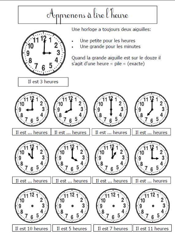 Bevorzugt apprenons à lire l'heure | L'heure | Pinterest | Math, French  VI97